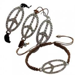 Crystal Peace Sign Pendant Bracelet