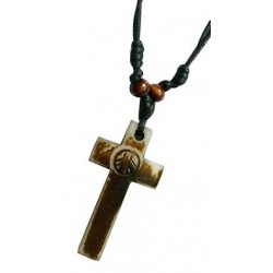 Cross With Peace Sign Pendant Necklace