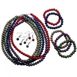 Colors Glass Pearl Necklace Set