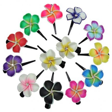 Fimo Flower With Hair Clips