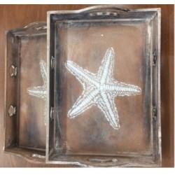 Wooden Tray Star Fish (1 Set)