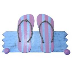 Wooden Coat Hanger Double Sandal (Pink)