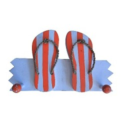 Wooden Hanger Double Sandal (Orange)
