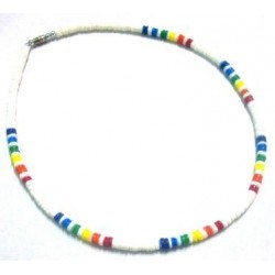White Clam Shell With Rainbow Shell Necklace