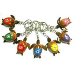Turtle With Hibiscus Flower Key Chain
