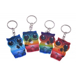 Owl Key Chain with Palm Tree and Dolphin