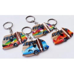 Wooden Car With Surf Key Chain