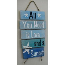 """All You Need Is Love & Sunset"" Wooden Sign Home Decor"