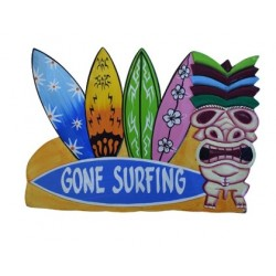 """Gone Surfing"" Wooden Sign Home Decor"