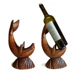 Wood Dolphin Wine Holder