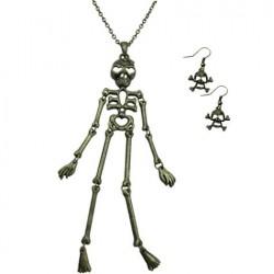 Metal Skeleton Necklace & Earrings Set