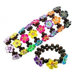 Crystal Flower With Wooden Beads Bracelet