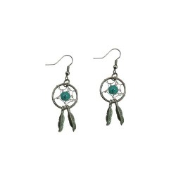 Dream Catcher Earrings - Turquoise Stone