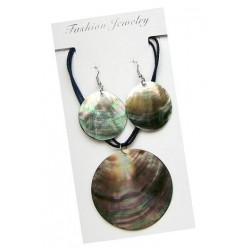 Black Mother of Pearl Shell Necklace & Earring Set