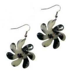 Medium White Tiare Flower Earring
