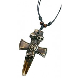 Resin Skull Cross Pendant Necklace