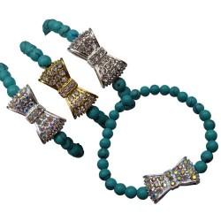 Rhinestone Bow-tie Bracelet - Turquoise