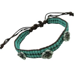 Turquoise With Hibiscus Flower Bracelet