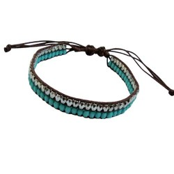 Turquoise With Silver Double Line Bracelet