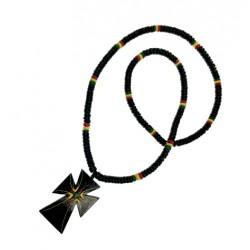Rasta Coco With Cross Pendant Necklace
