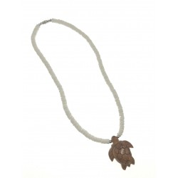 White Clam Necklace with Brown Flower Shell Pendant