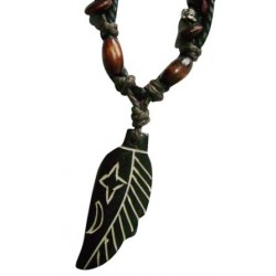Leaf Bone Pendant Necklace