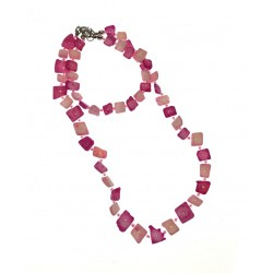 Pink Shell Necklace & Bracelet Set