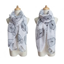 Bicycle & Bird Cage Motif Summer Scarf