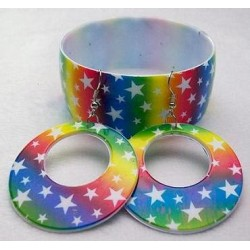 Rainbow Star Bangle & Earring Set