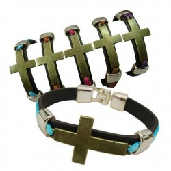 Cross With Leather Bracelet