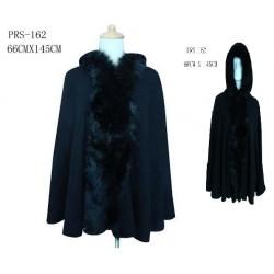 Black Faux Fur Hoodie Poncho