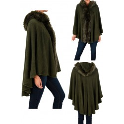 Olive Green Faux Fur Hoodie Poncho