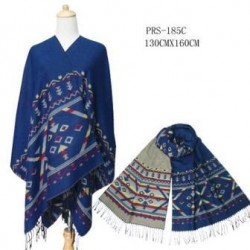 Navy Blue Reversible Poncho