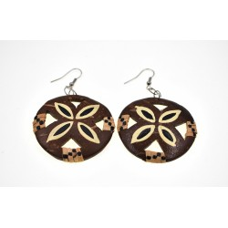 Hand Made Coconut Plumeria Flower With Rattan Earrings