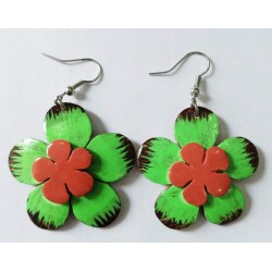 Hand Made Neon Green Plumeria Shaped Coconut Earrings