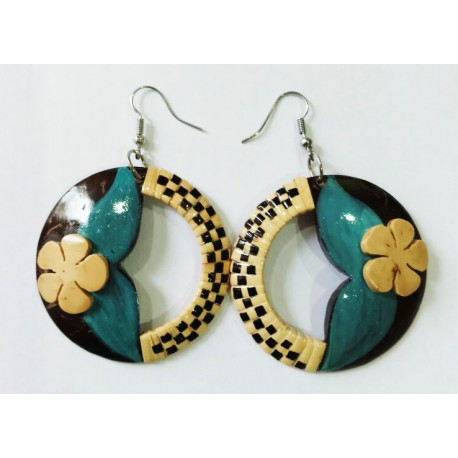 Hand Made Coconut Plumeria Turquoise Leaves With Rattan Earrings