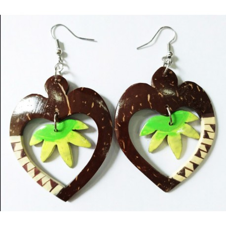 Hand Made Heart Shaped Coconut Leaf With Rattan Earrings