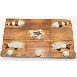 Star Fish Sea Shell With Tropical Fish Wooden Coat Hanger