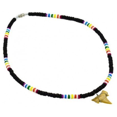 Rainbow Black Coco With Real Sharks Tooth Pendant Necklace