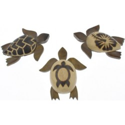 Large Wooden Sea Turtle With Burn Design Magnets