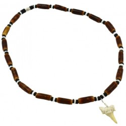 Bamboo Clam Shell With Real Sharks Tooth Pendant Necklace