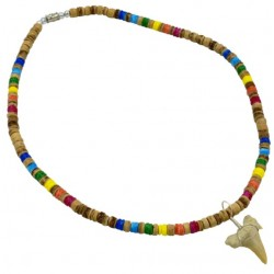Rainbow Tiger Coco With Real Sharks Tooth Pendant Necklace
