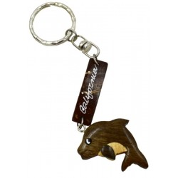 Coconut Dolphin With Wooden California Key Chain