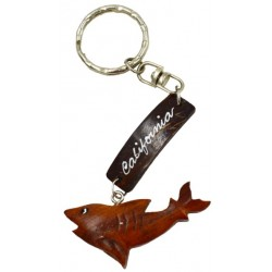 Coconut Shark With Wooden California Key Chain