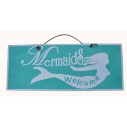 """Mermaids Welcome"" Wooden Sign Home Decor"