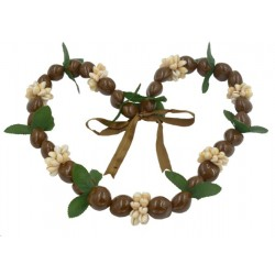 Brown Kukui Nut With Cowrie Shell And Leaf Lei/Necklace
