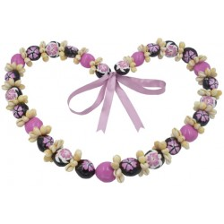 Cowrie Shell With Pink Hibiscus Turtle Kukui Nut Lei/Necklace