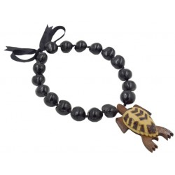 Black Kukuinut With Wood Turtle Pendant Necklace
