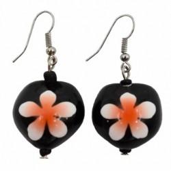 Orange Plumeria Flower Kukui Nut Earrings