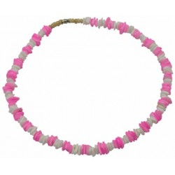 Light Pink W/ White Rose Clam Shell Necklace